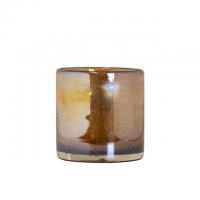 waxinelichthouder glas bubbels amber 8cm, 8716522053425