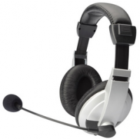 DIGITUS stereo multimedia headset zwart zilver 4016032320876
